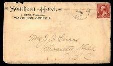 Southern Hotel Waycross Ga 1890S Single Franked Ad Cover To Society Hill Sc