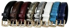 Women's Skinny Alligator Embossed Leather Casual Dress Belt with Roller Buckle
