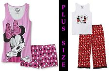 Womens 1X-2X MICKEY MOUSE Pajama Set Plus Size MINNIE Cotton Top/Pants or Shorts