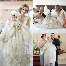 2016 Baptism Dresses Baby Lace Toddler Christening Gowns Robe White Ivory Bonnet