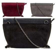 WOMENS LADIES PURSE ZIP PONY SKIN FUR FAUX LEATHER PARTY EVENING CLUTCH BAG