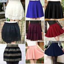 New Women Fashion Candy Color Waist Plain Rivet Pleated Bubble Mini Skirt TXCL