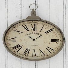 Pacific Lifestyle Antique Cream Metal and Glass/Nickel Oval Clock
