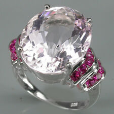 RAVISHING @@@ TOP SOFT PINK KUNZITE & PINKISH RED RUBY 925 STERLING SILVER RING