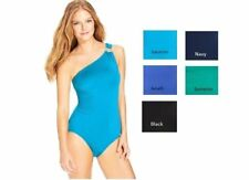 NWT Michael Kors One Shoulder Maillot Ruched One-Piece Swimsuit Choose Color/Sz