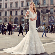 Bridal Gowns Wedding Dresses Long Sleeves Lace Size 8 10 12 14 16 18 Custom 2017