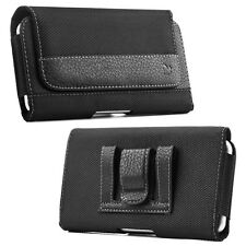 Men's Horizontal Leather Case Pouch Holster Belt Clip Black for iPhone Samsung