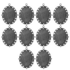 10Pcs 30x40mm Retro Oval Cameo Cabochon Base Setting Blank Tray Charm Pendant