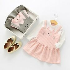 Toddler Kids Baby Girls Printed Dress Long Sleeve Princess Party Pageant Dresses