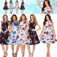Women's Vintage Floral 40s 50s Retro Rockabilly Prom Wedding Party Skater Dress