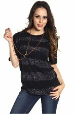 DEALZONE Stunning Dot Striped Top S Small Women Black Casual Short Sleeve