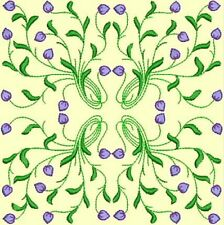 Anemone Quilt Squares 2-DESIGN 8-an Anemone Machine Embroidery single in 4 sizes