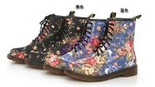 Womens Retro flowers Martin lace Martin Mid-Calf Shoes Combat Ankle Boot Shoes