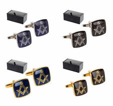 Masonic Compass and Square Enamel Face Cufflinks Gift Boxed Freemason