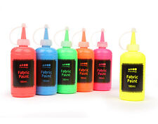 6 x 180ml Bottles of Assorted Fluorescent Neon Colours Fabric Paint