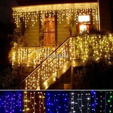 Outdoor Xmas Christmas 96LED Curtain Icicle Fairy String Lights Lamps Wedding WS