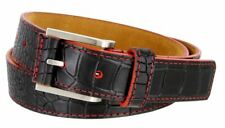 "Genuine Leather Casual Alligator Embossed Belt 1-3/8"" Wide Red Blue Orange Green"