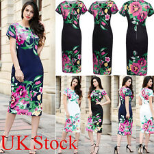 Sheath Dress Womens Vintage Floral Bodycon Pencil Midi Dress UK Size 8 10 18 20