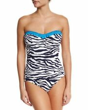 NEW Tommy Bahama Zebra Printed Shirred Tie Back Strapless One-Piece Swimsuit 12