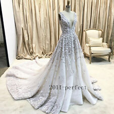 2017 Luxury Embroidery Wedding Dresses Sexy Plunging Backless Bridal Gown Custom