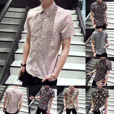 New Men Luxury Casual Slim Fit Stylish Dress Shirts Floral ButtonFront Top Shirt