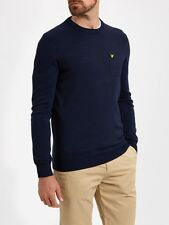 Lyle And Scott Mens Knitwear KN600V Pocket Detail Crew Neck Jumper-Navy