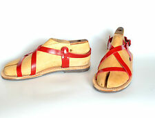 ANANIAS Greek Grecian Roman leather Sandals in red
