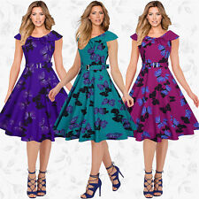 Plus Women's Vintage Hepburn 50s Rockabilly Evening Party Swing Classy Tea Dress