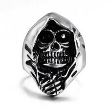 New Silver Polished Skull Head Stainless Steel Ring Steampunk Mens Jewelry Gift