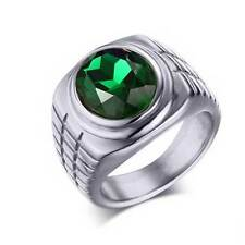 Silver Stainless Steel Green Gem Mens Ring Classic Jewelry Gothic Band Gift