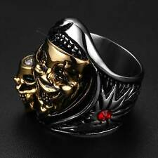 Silver Gold Skull Head Ring Stainless Steel Mens Jewelry Gothic Punk Band Retro