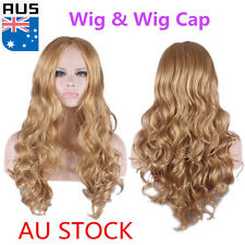 Women's Anime Cosplay Wigs Curly Middle Long Wavy Hair Dark Blonde Full Wig+Cap