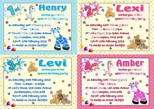 10 Personalised Childrens/Kids Birthday Party Invitations/Invites with envelopes