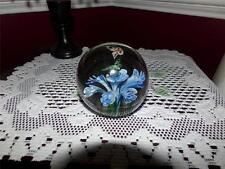 LG. PAPERWEIGHT MURANO THISI S OF BLUE FLOWERS AND BUTTERFLIES