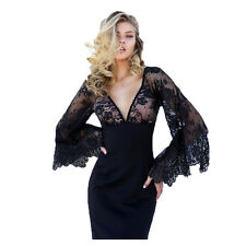 Elegant Women Lace Sleeves V Neck Long Prom Party Evening Ball Gown Dress Slim
