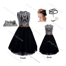 High Neck Flapper Gatsby Wedding Party Formal Evening Prom Cocktail Dresses 4 18