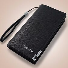 Men's Leather Bifold Clutch Long Wallet Zip Purse Card Holder Billfold Checkbook