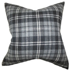 The Pillow Collection Baxley Plaid Wool Throw Pillow Cover