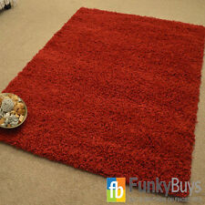 RED SMALL EXTRA LARGE THICK 5cm PILE PLAIN MODERN NON-SHED SOFT AREA SHAGGY RUG
