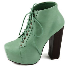 Women Platform Chunky High Heel Ankle Booties Round Toe Lady Shoes