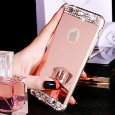 Bling Crystal Diamond Mirror Back Soft TPU Cover Case For Apple iPhone Mobiles