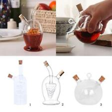 2-Outlet Glass Olive Oil Jar Vinegar Bottle Kitchen Sauce Cruet Dispenser 3Style