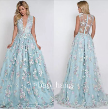 3D Floral Appliqued Prom Dress Long V-Neck Party Gown Floor Length Illusion Back