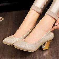 New Women's Synthetic Leather Med Chunky Heels Slip-on Solid Pumps Shoes Size