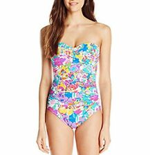 NWT Anne Cole Pastel Floral-Printed Front Twist One-Piece Swimsuit White Sz 8-16