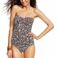 NWT Anne Cole Ruched Falling Leaves Strapless Bandeau One-Piece Swimsuit Sz 6-8