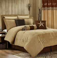 7-Pcs Embroidery Western Star Microsuede Oversized Bedding Comforter Set Coffee