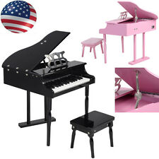 Black / Pink 30 keys Childs Toy Grand Baby Piano with Kids Pinao Bench Wood