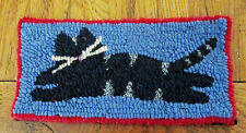 WHIMSICAL CAT  Primitive Rug Hooking Kit with cut wool strips on monks cloth