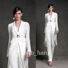 New White Mother Of Bride Pant Suits Formal Evening Women Outfit Jacket+Pants